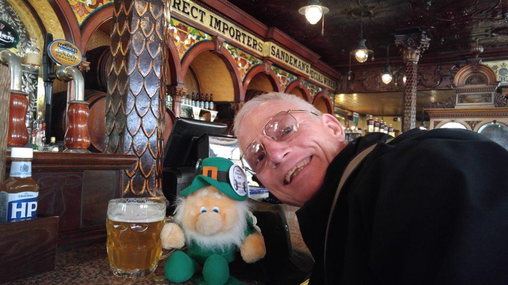 Having refreshment at Crown Bar at Belfast.