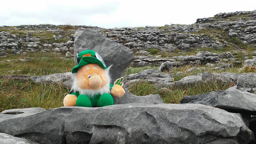 The Burren with trail markers towards the upper right corner.